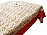 LinenTablecloth 60 x 86-Inch Rectangular Cotton Tablecloth -Multi Color Table cloth 6 Seater - Thanksgiving Wedding Dining Room Rectangle Party Tablecloths for Rectangle Tables