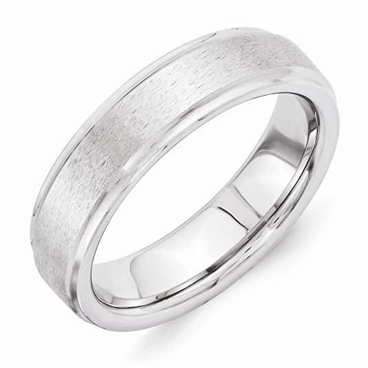 Men's Vitalium Grain Finish Center Ridged Edge Flat Wedding Band Ring