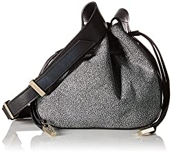 Halston Heritage Medium Drawstring Leather Handbag, Black/Multi, One Size