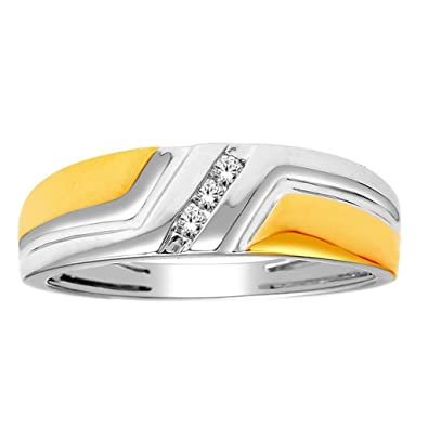 Rings-MidwestJewellery.com Men's Wedding Band Ring Two Tone 10K White Gold 0.06Cttw 6.5Mm Wide Comfort(I/J Color 0.06Cttw)