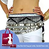 Bellyqueen Multi-Row Bellydance Hip scarf, With Silver Coins And Black Beads