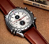 Men's Brown Pu Leather Strap White Dial Quartz Movement Wrist Watch