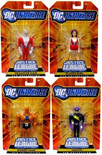 DC Universe Justice League Unlimited Exclusive Doom Patrol Set of 4 Action Figures Negative Man, Robot Man, ElastiGirl Mento