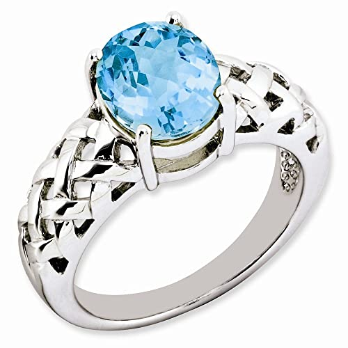 Sterling Silver Light Swiss Blue Topaz Ring