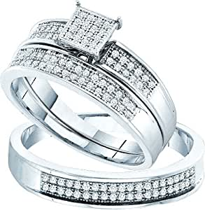 """Stunning 3 Pc. 925 Sterling Silver and Genuine 1/3 Ctw. Diamond Trio Wedding Set for Him and Her """" Size 7 for Her and Size 10 for Him"""