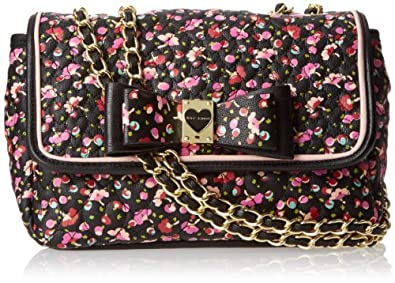 Betsey Johnson Be My Honey Buns Flapover shoulder Bag,Black Multi,One Size