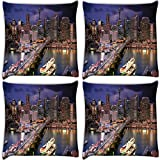 Snoogg Abstract Buildings At Night Pack Of 4 Digitally Printed Cushion Cover Pillows 18 X 18 Inch