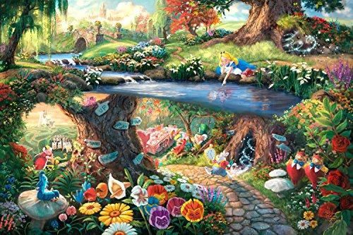 Thomas Kinkade 12x18 Alice in Wonderland Full Image No Loss of Image Due to the Need to Stretch Wrap and Staple Giclee Fine Art Print Note Caterpiller Left Roses (Caterpillar In Alice In Wonderland)