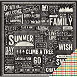 Pebbles Lakeside Chalkboard 12x12 Scrapbook Paper