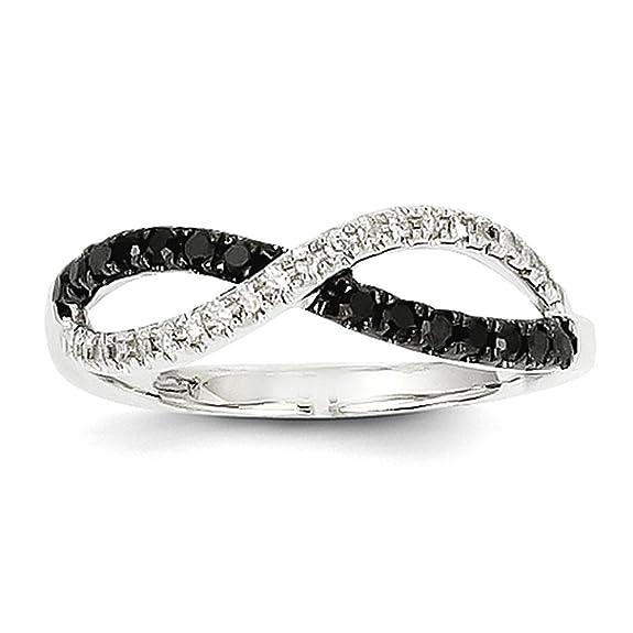 14K White Gold Black & White Diamond Twisted Ring