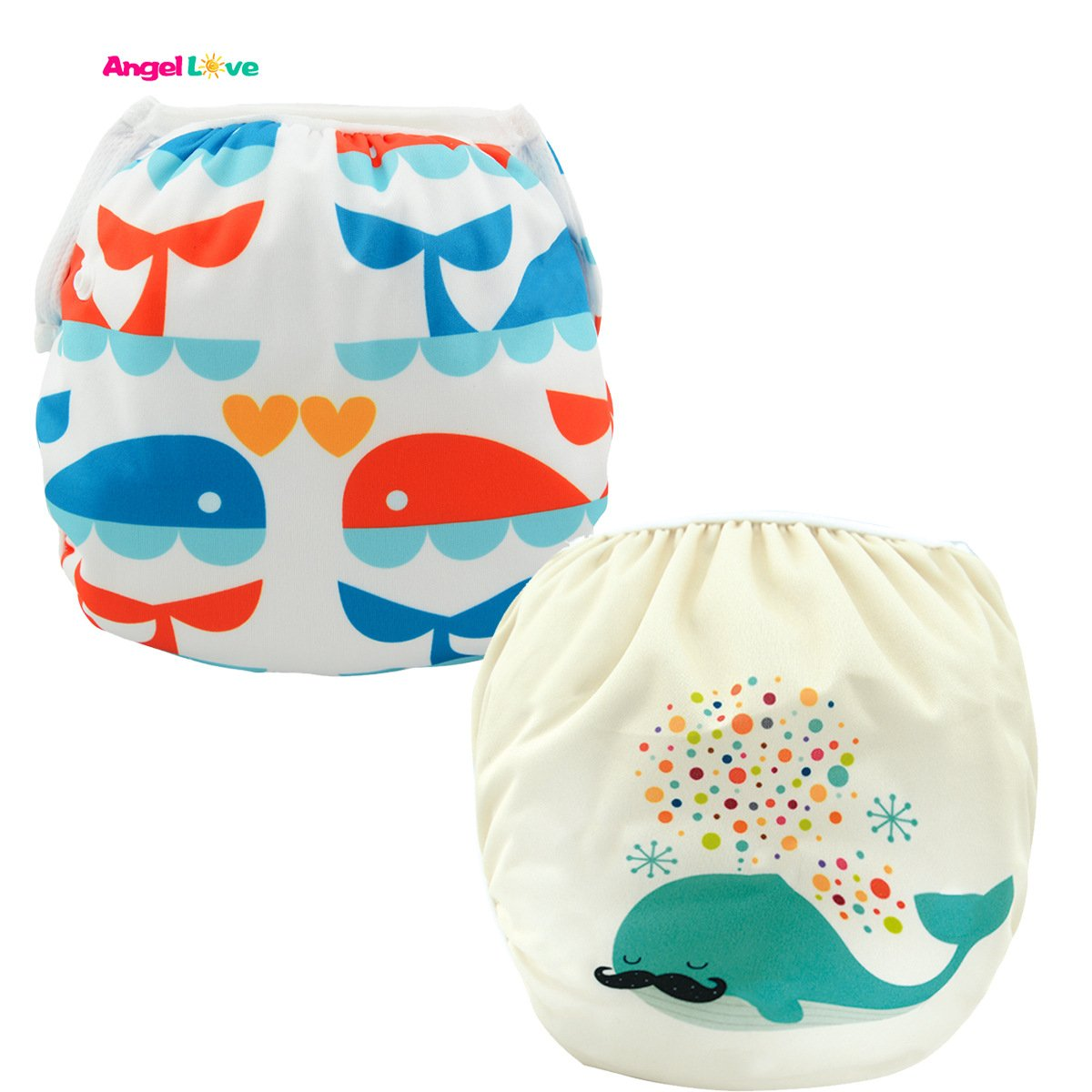 Baby Swim diapers, ANGEL LOVE Baby 2PCS Pack Cloth Swim diaper, Reusable Washable and Adjustable for Swimming, Outdoor Activities and Daily Use, Fit Babies 0-2 Years,All in One Size (SWD0204)
