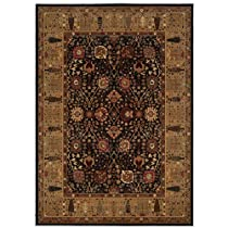 Hot Sale Couristan 0621/2596 ROYAL KASHIMAR Cypress Garden 118-Inch by 165-Inch Wool Area Rug, Black/Deep Maple