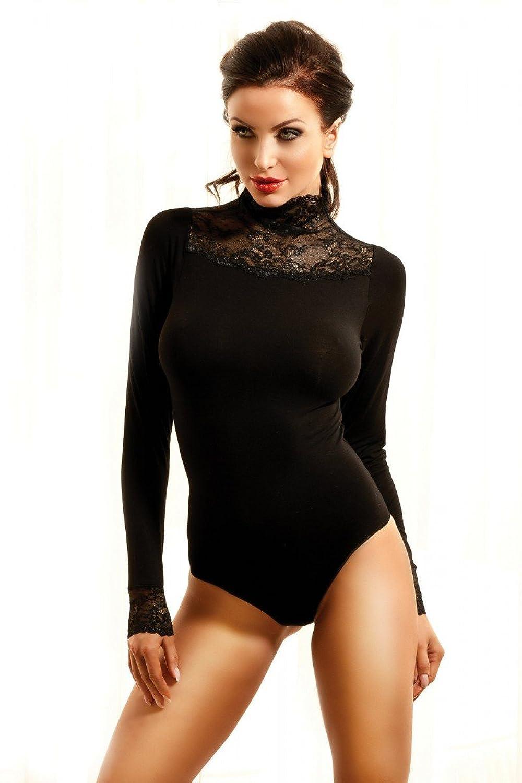 Schwarzer enger langarm Damen Body mit Spitze dehnbar