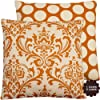 "Orange Creamsicle Collection - 20"" Square Throw Pillow Cover - Damask and Polka Dots - Orange and Cream Hues - 1 Pillow Cover"