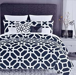 max studio modern lattice geometric pattern 3pc king duvet