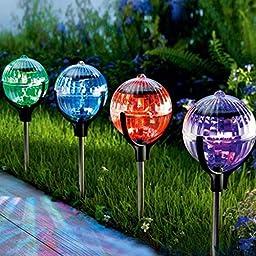 Saver 2pcs Solar Garden Ball Shape Colorful LED Light Outdoor Courtyard Floating Light Hanging Lamp