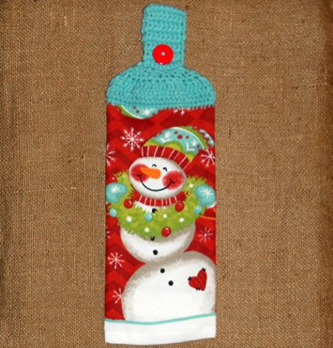 Happy Snowman Crocheted Top Hanging Towel, Double Sided (Rv Double Refrigerator Bar compare prices)