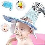 EZ-PZ Faucet Extender, Bath Spout Cover & Free Baby Shower Cap   Faucet Extender for Toddlers - Bath Faucet Cover baby - Bath Visor for Kids   Leak Proof, Soft & Snug - Child Bathroom Cute Accessories (Color: Blue)