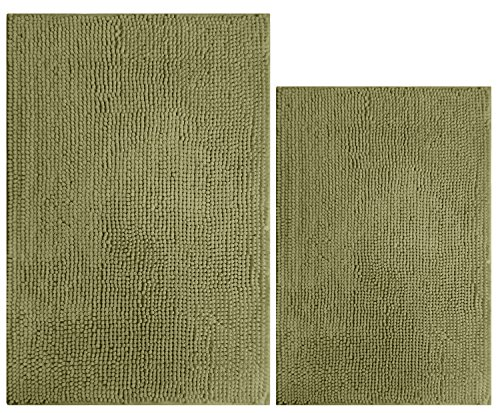 South Coast 2 Piece Bathroom Rug Set (Rectangle Bath Mat & Toilet rug)-Moss (Green)