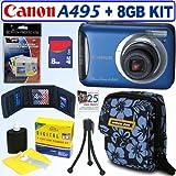 Canon PowerShot A495 10.1 MP Digital Camera (Blue) + 8GB Accessory Kit
