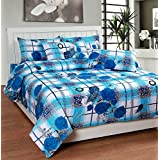 Soni Traders White & Blue Check Floral Pure Cotton Double Bedsheet With Pillow Cover- Bedsheet- 90 Inches X 90...