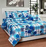Soni Traders White & Blue Check Floral Pure Cotton Double Bedsheet With Pillow Cover- Bedsheet- 90 Inches X 90 Inches; Pillow Cover- 16 Inches X 27 Inches