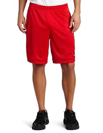 Champion Men's Long Mesh Short With Pockets, Crimson, Small