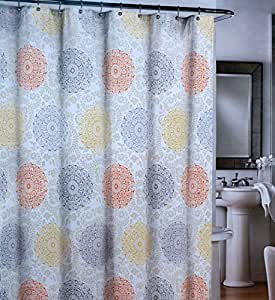 Cynthia Rowley Fabric Shower Curtain Round Medallions Orange Gray