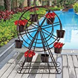 Design Toscano Metal Ferris wheel Sculptural Planter with Matching Pots