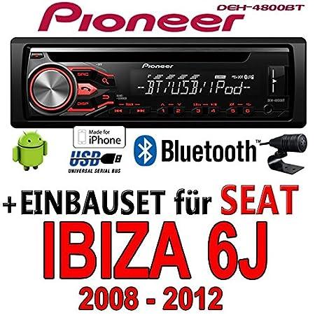 Seat Ibiza 6J Dunkelgrau - Pioneer DEH-4800BT - CD/MP3/USB Bluetooth Autoradio - Einbauset
