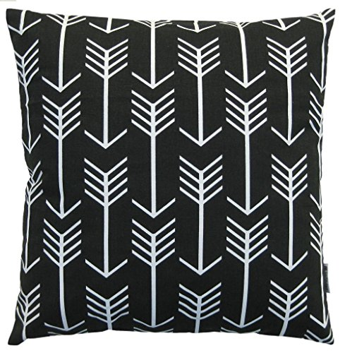 JinStyles Cotton Canvas Arrow Accent Decorative Throw Pillow Cover (Black, White, Square, 1 ...