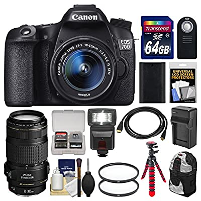 Canon EOS 70D Digital SLR Camera & EF-S 18-55mm IS STM & EF 70-300mm IS Lens + 64GB Card + Backpack + LED Flash + Battery & Charger + Tripod Kit