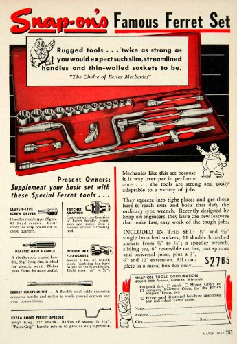 1949 Advert Snap-On Tools Ferret Set 8060-C 28th Ave Kenosha Ratchet Flexockets - Original Print Ad