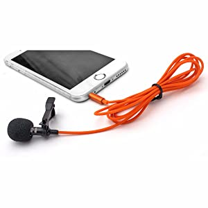Orange Professional Grade Lavalier Lapel Microphone ­ Omnidirectional Mic with Easy Clip On System ­ Perfect for Recording Youtube/Interview / Video