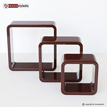 homestyle4u retro cube design wandregal wandboard regal w rfel 3er set dunkelbraun dc501. Black Bedroom Furniture Sets. Home Design Ideas