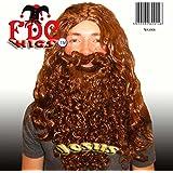 Deluxe Curly Beard n Wig Set Jesus Moses Hippie Caveman Dwarf in Brown or Grey