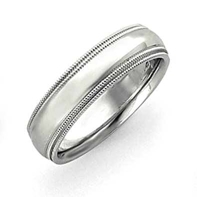 14ct White 6mm double milgrain wedding Band Ring - Size S 1/2