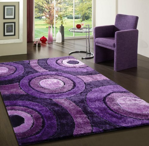 Washable Throw Rugs On Sale: Beautiful Lavender Shaggy Viscose Solid Pattern Area Rug