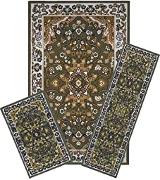 Traditional Oriental Floral Area Rug Set - 3 PC SET ! 5 feet x 8 feet , Olive Green ,beige carpet, stain resistant, foyer, dining room, living room
