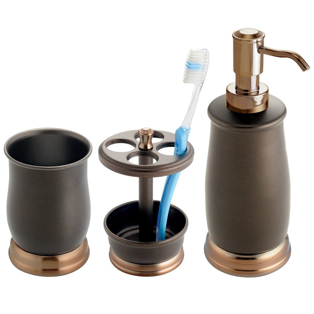 mDesign Metal Bath Accessory Set, Soap Dispenser, Toothbrush Holder, Tumbler - 3 Pieces, Two-Tone Bronze