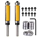 Yakamoz 2Pcs 1/4'' Shank Top and Bottom Bearing Guide Flush Trim Pattern Router Bit Set Woodworking Cutter Tool with 10 Pcs Top Mounted Replacement Bearings (Color: Yellow)