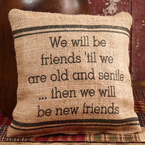 Cheap Burlap Pillow - We Will Be Friends 'Til We Are Old And Senile... Then We Will Be New Friends -...