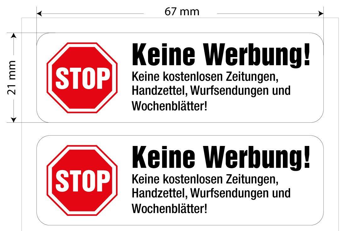8 Keine Werbung Aufkleber, in Weiß, einzeln abziehbar, in Vinyl, Stop Briefkastenwerbung günstig