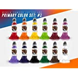 12 Bottle Primary Color Ink Set #1 - World Famous Tattoo Ink - 1oz.