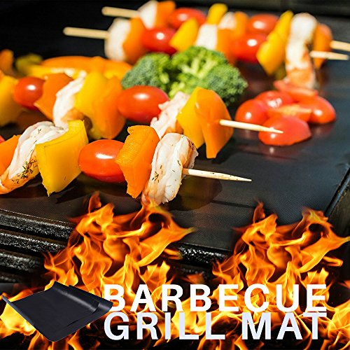 Top Grill Mats | Non-Stick and Fire Resistant BBQ Grilling Sheet for Hot Barbecue Season | Set of 3 Pieces 13