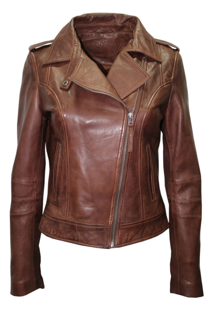 Ladies Retro Brando Chestnut Brown Biker Casual Soft Nappa Leather Jacket 0