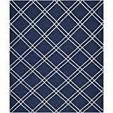 Safavieh Dhurries Collection DHU638D Hand-Woven Wool Area Rug, 5-Feet by 8-Feet, Navy and Ivory