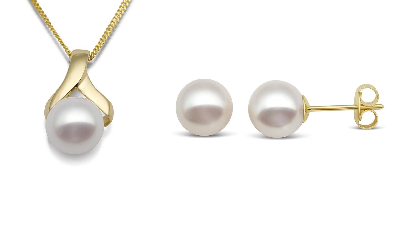 Miore Damen-Set: Halskette + Ohrringe Süßwasser-Zuchtperlen 9 Karat 375 Gelbgold MSET007 günstig