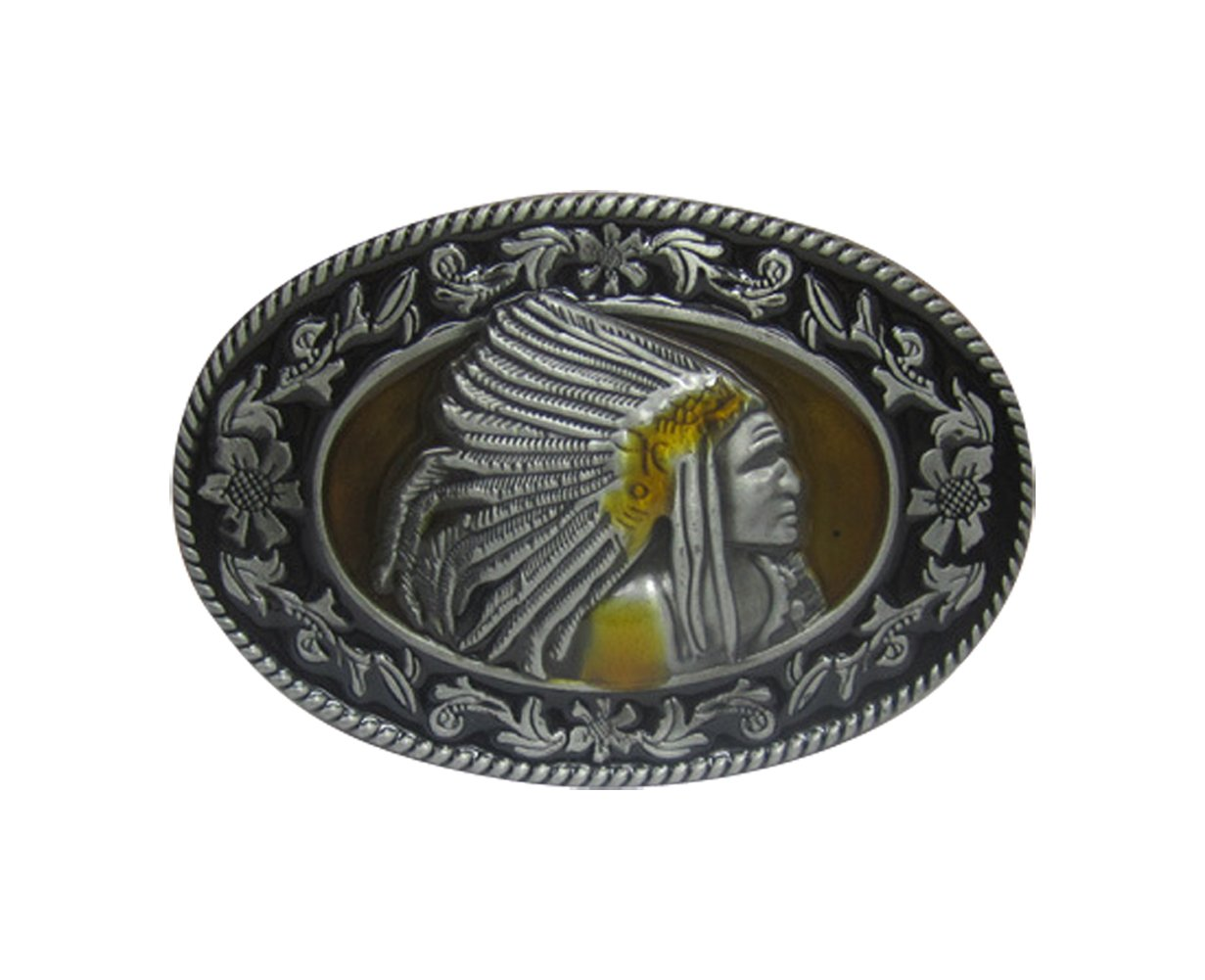E-Clover Vintage American Indian Head Buckle Cowboy Oval Western Belt Buckle 0