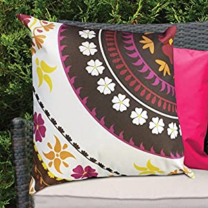 Pink Flower Design Water Resistant Outdoor Filled Cushion for Cane/Garden Furniture by Gardenista